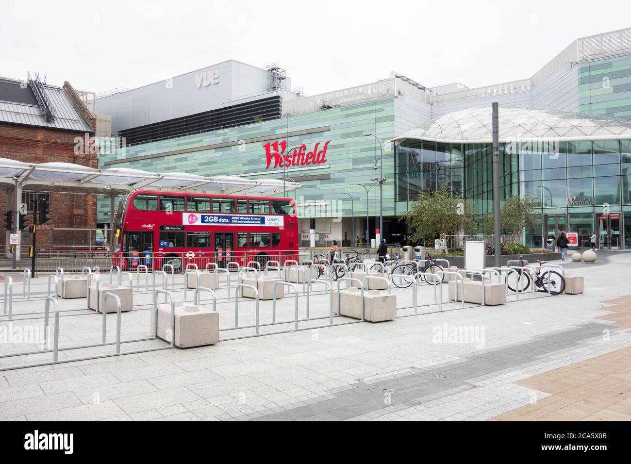 A deserted Westfield shopping centre in White City in the London Borough of Hammersmith and Fulham, London, UK Stock Photo