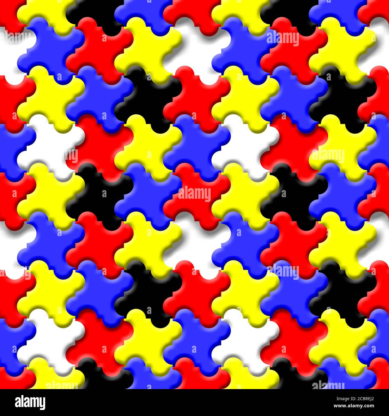 3D Tessellating seamless repeating pattern - primary colour jigsaw pieces Stock Photo