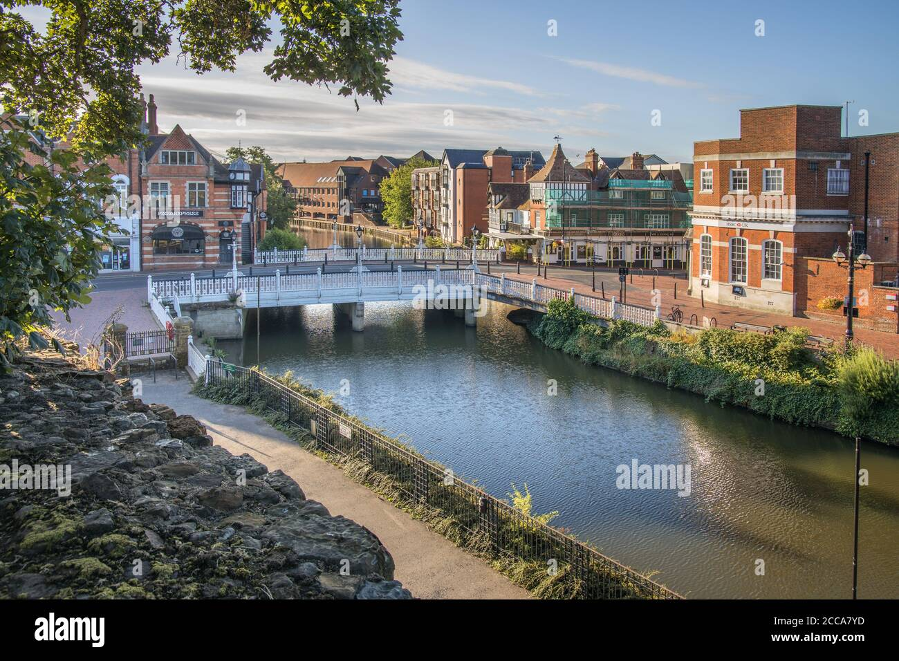 ornate bridge in the town of tonbridge on the river medway in kent Stock Photo