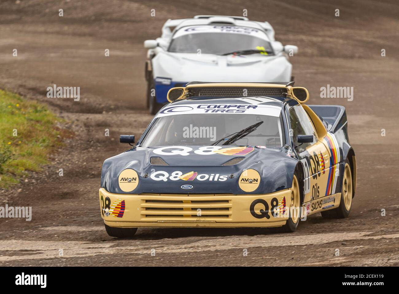 pat-doran-in-ford-rs200-racing-in-the-group-b-class-at-the-5-nations-british-rallycross-event-at-lydden-hill-kent-uk-during-covid-19-2CEX119.jpg