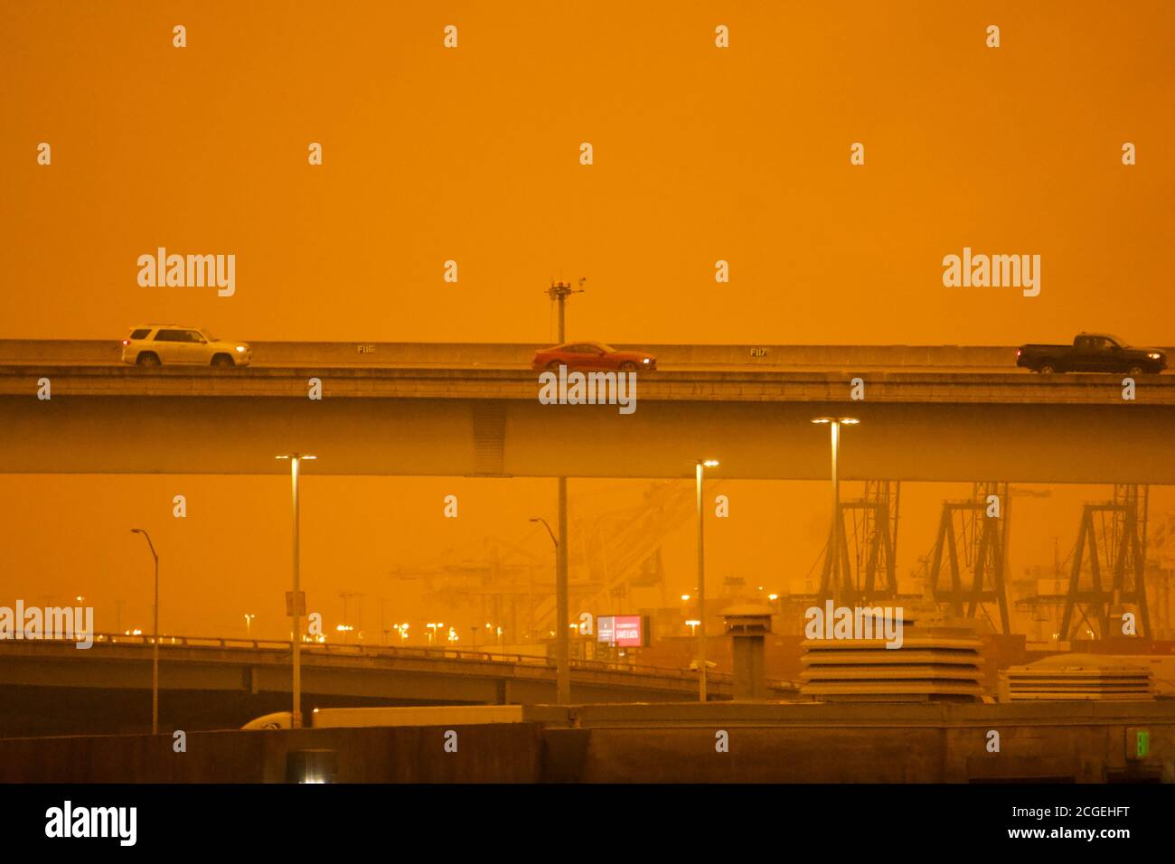 September 9, 2019. San Francisco Bay Area has a bizarre orange sky from wildfire smoke from out of control Oregon and California wildfires. Stock Photo
