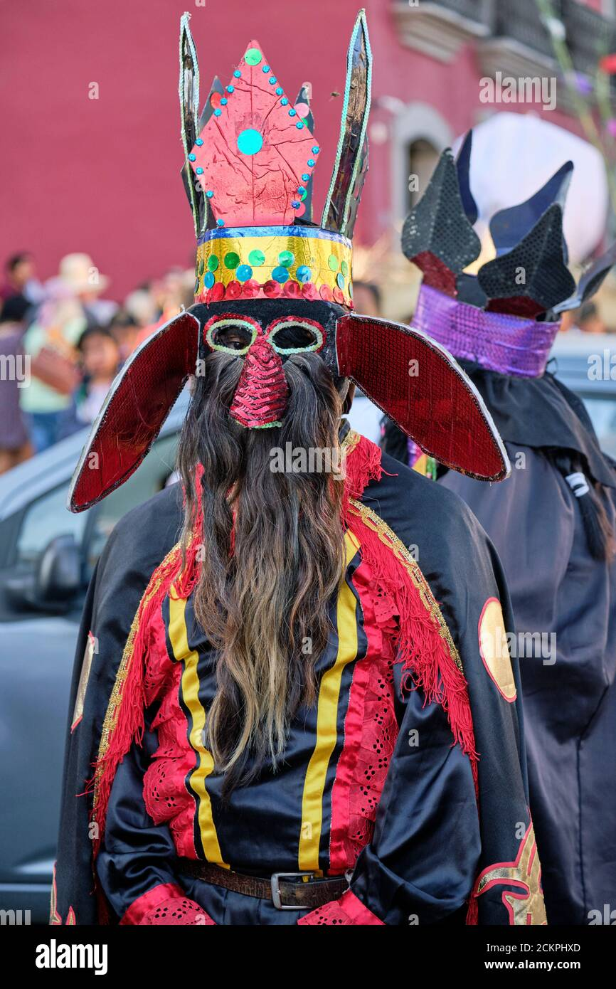 Mexican creature with crown and beard walking and dancing in a parade in Street of Oaxaca Stock Photo