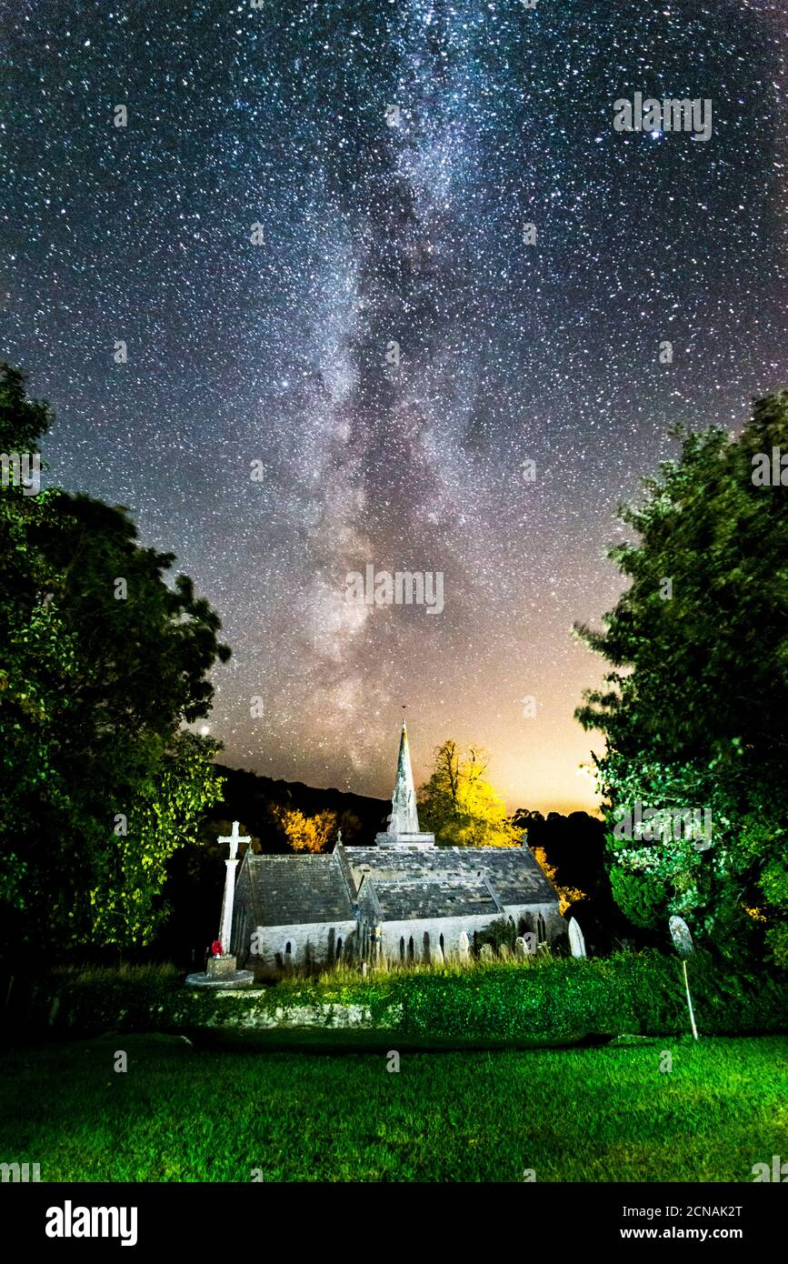 Littlebredy, Dorset, UK.  18th September 2020.  UK Weather.  The Milky Way shines brightly in the clear night sky above St Michael and All Angels Church at Littlebredy in Dorset.  Picture Credit: Graham Hunt/Alamy Live News Stock Photo