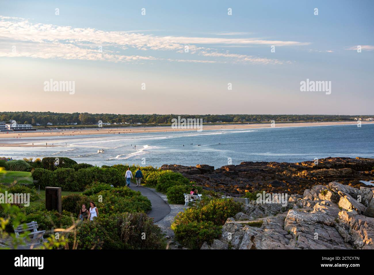 People walking along Marginal Way, Ogunquit Beach, Ogunquit, Maine, USA Stock Photo