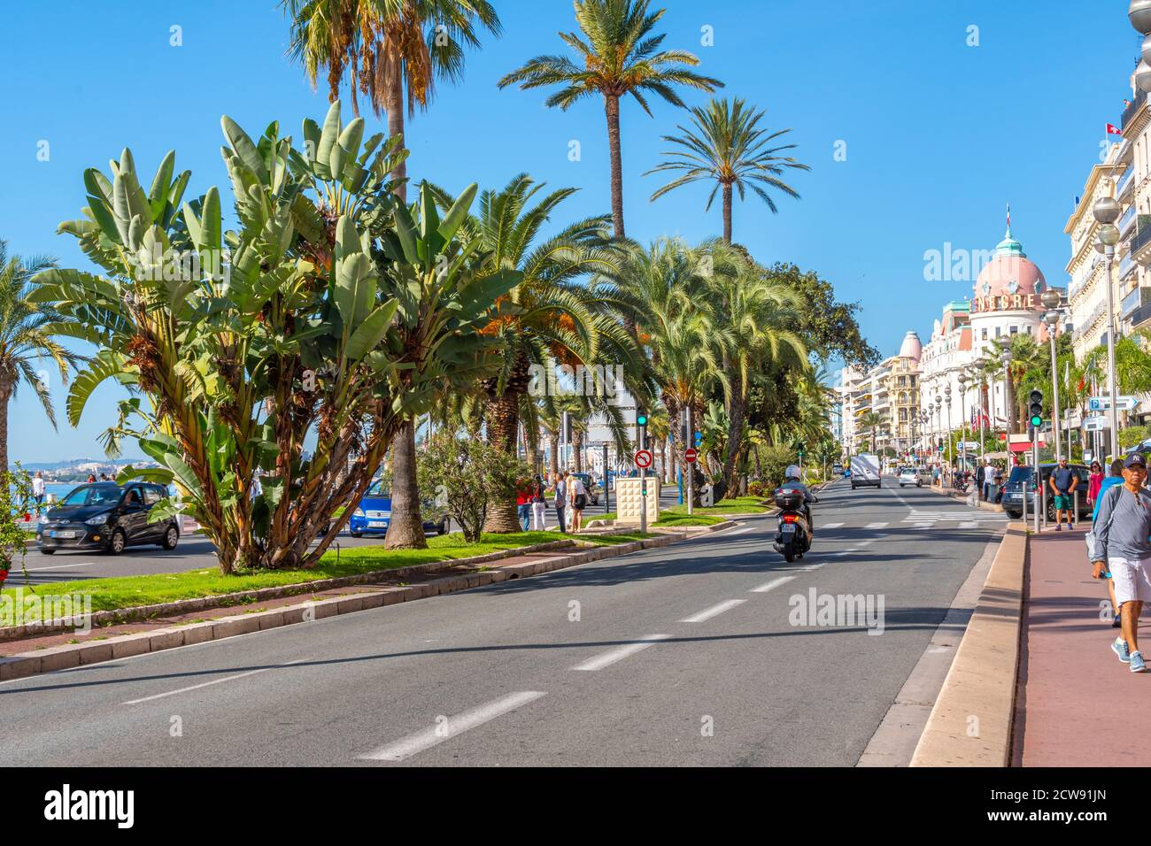 The main street Promenade des Anglais that runs along the French Riviera at Nice, France, on a summer day. Stock Photo