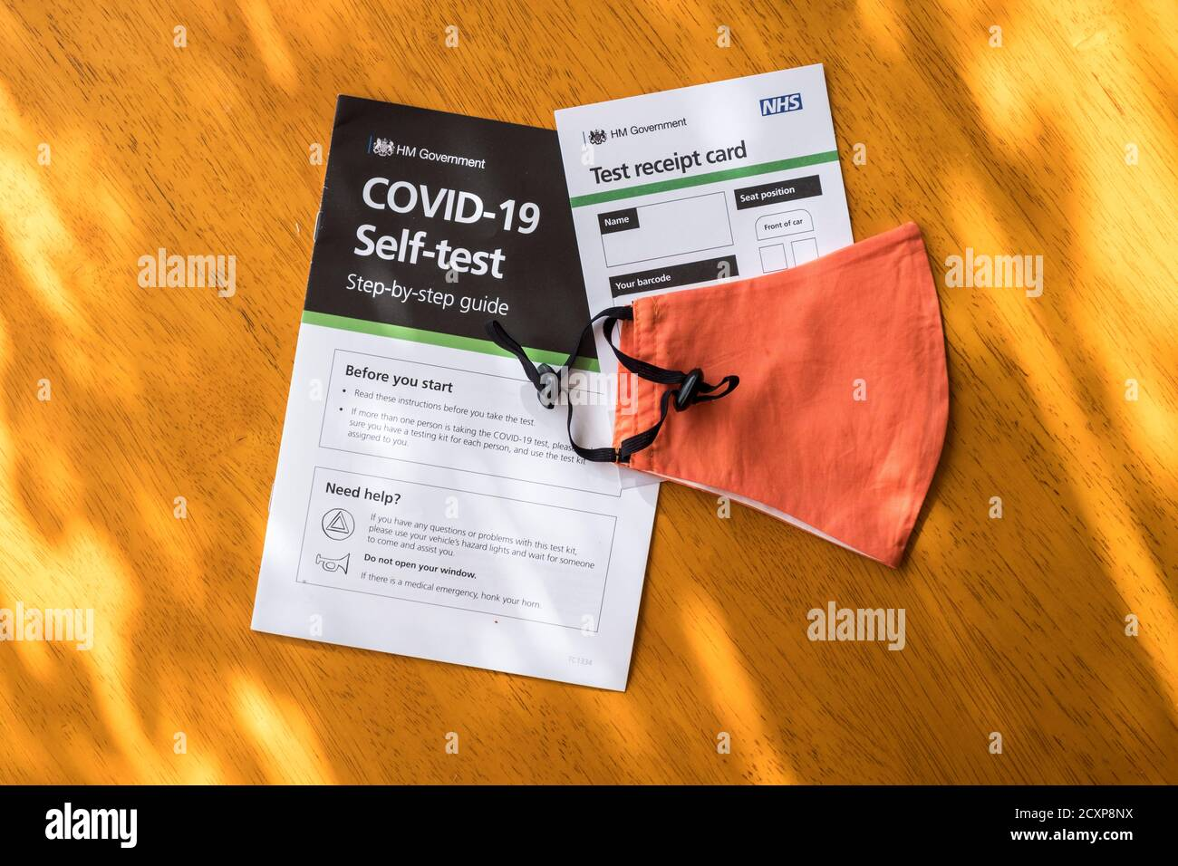 Covid-19 Self Test step-by-step guide leaflet and receipt card. Stock Photo