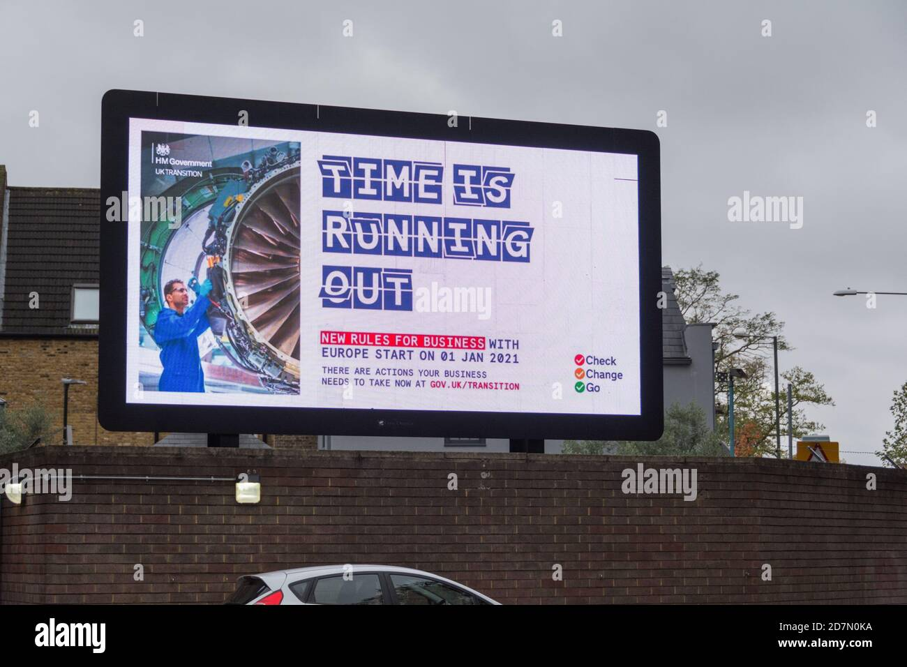 London, England, UK. 24 October 2020.  HM Government, Brexit - Time Is Running Out electronic billboard advert © Benjamin John Stock Photo