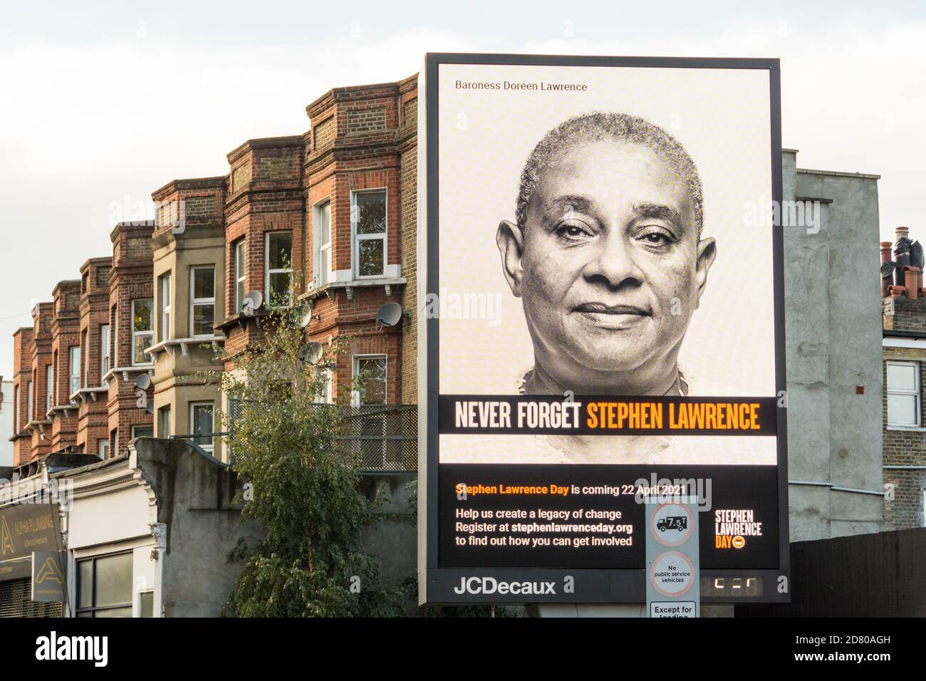 Never Forget Stephen Lawrence electronic billboard in Wandsworth, southwest London, UK Stock Photo