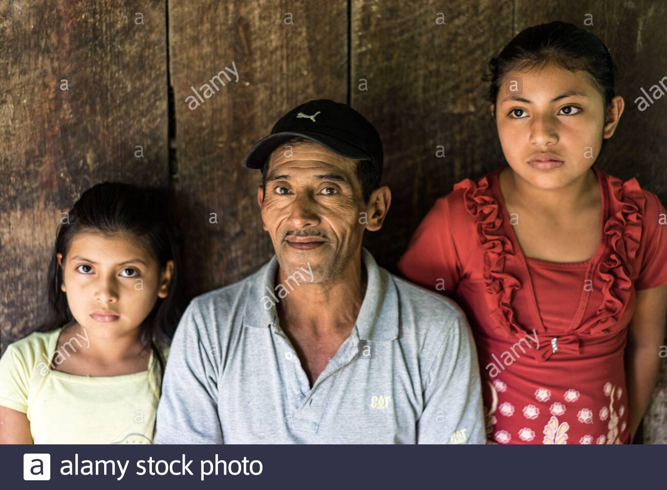 Campesino with daughters in Nicaragua Stock Photo