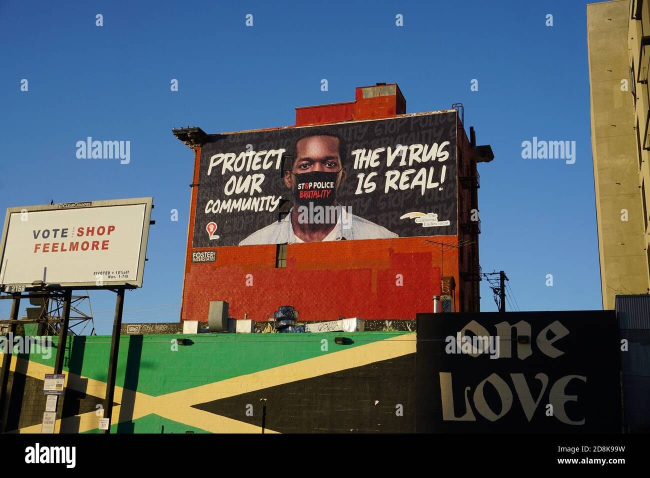 Billboards in downtown Oakland. Billboard for black community to raise covid public health awareness. Black Lives Matter. Virus is real. Stock Photo