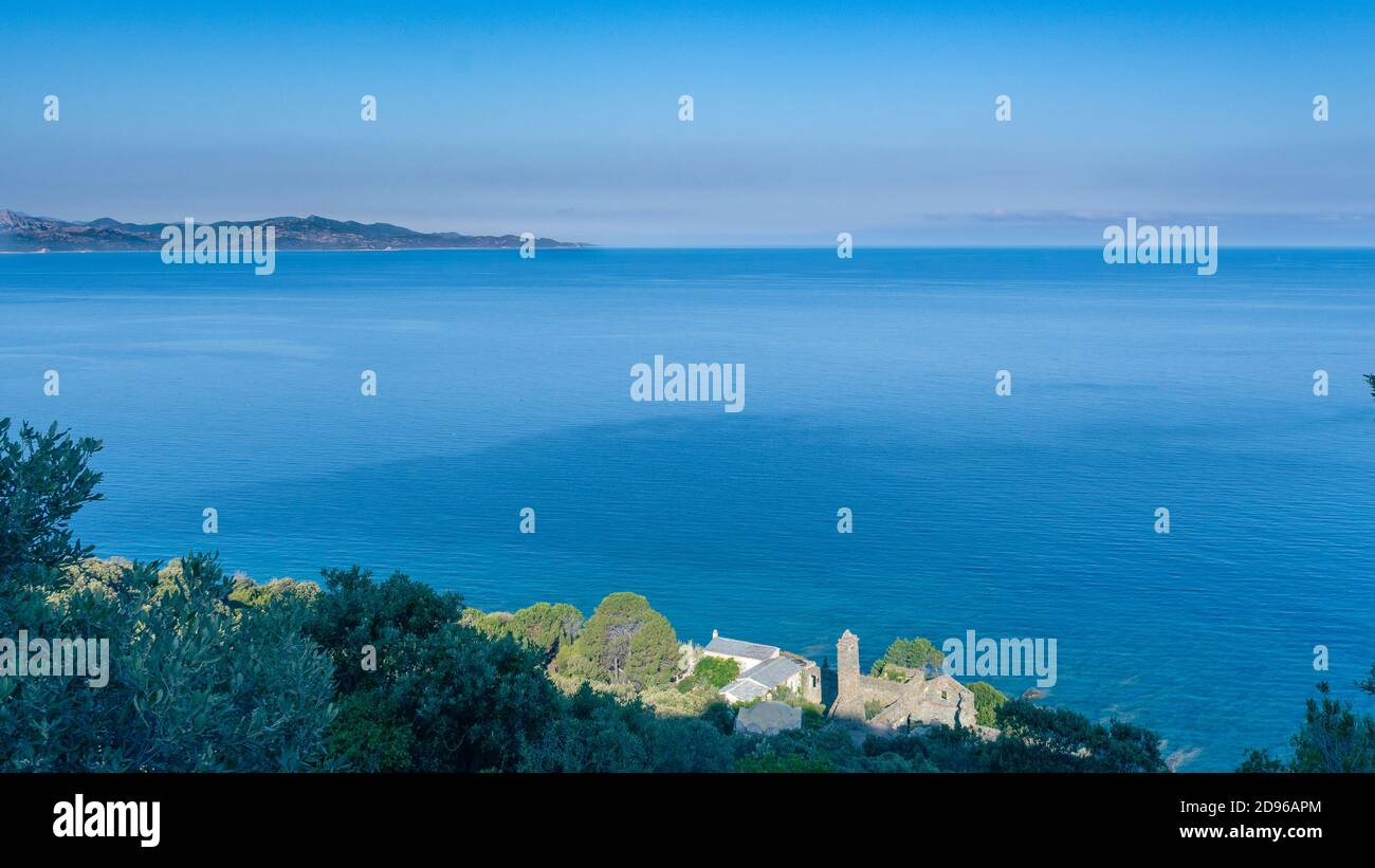 old ruined convent in Nonza - Corsica Stock Photo