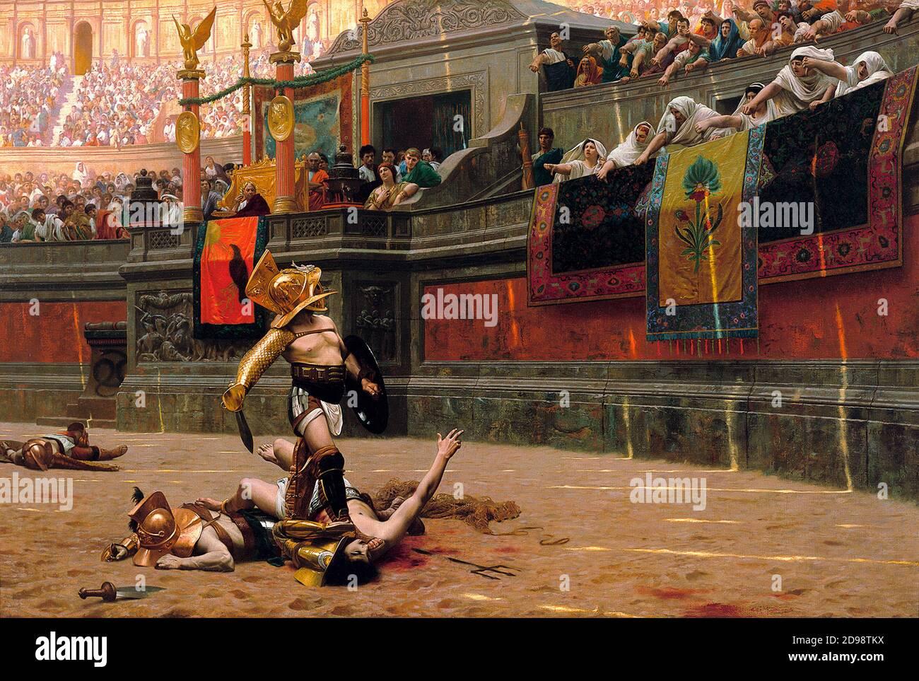 Roman Gladiator / Gladiators. Pollice Verso (Thumbs Down) by Jean-Léon Gérôme (1824-1904), oil on canvas, 1872. Stock Photo