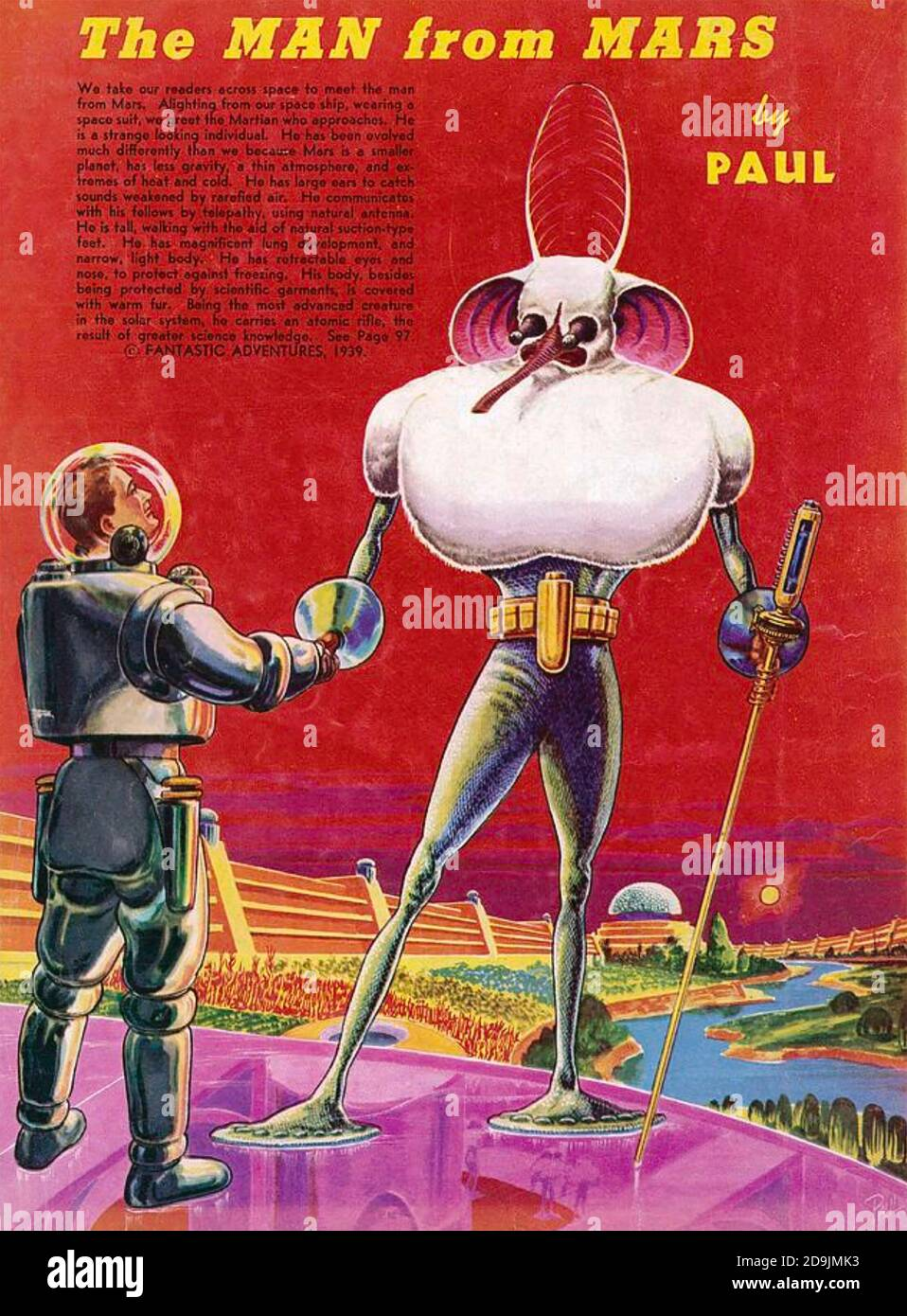 FANTASTIC ADVENTURES magazine. The man from Mars in a 1939 edition of the American sci-fi magazine. Stock Photo