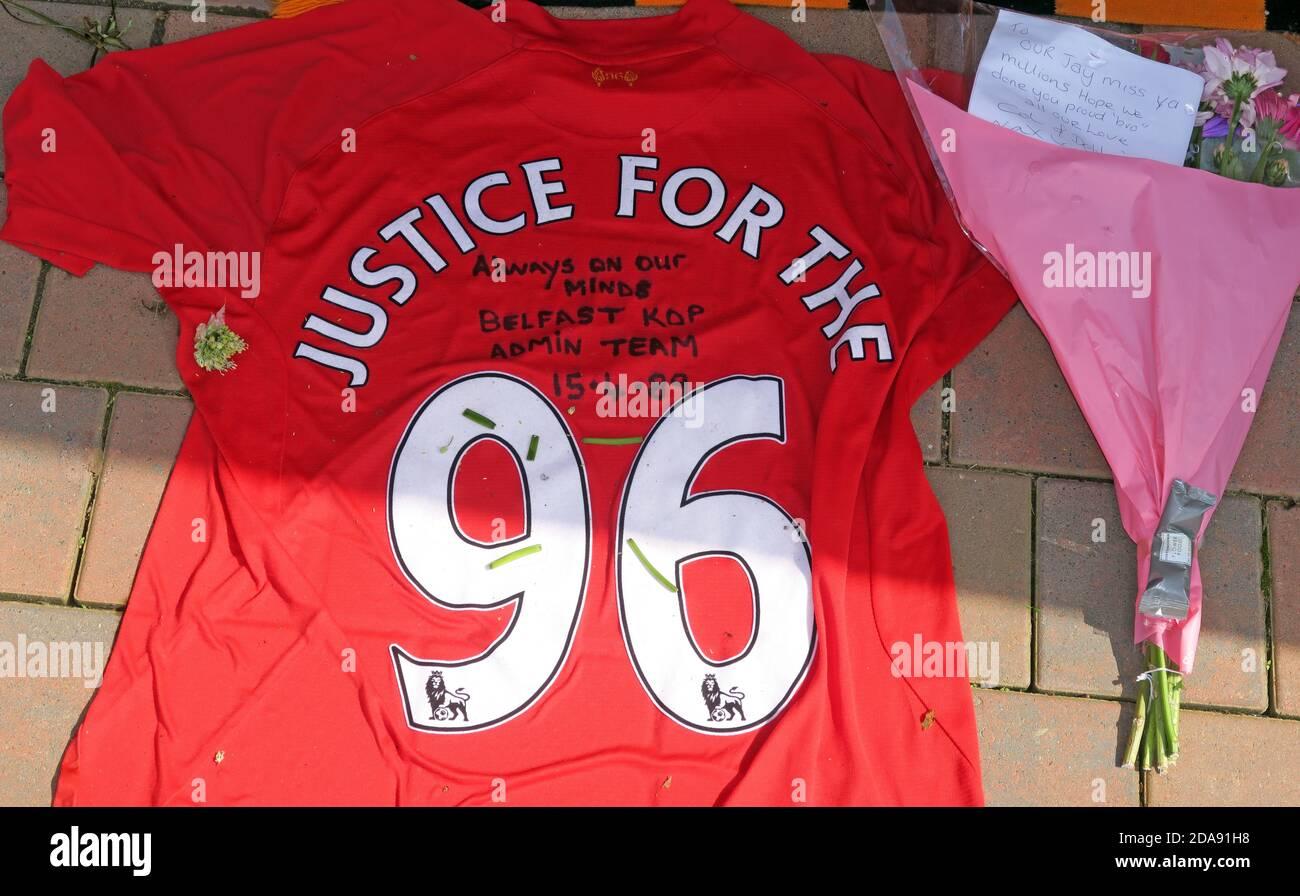 GoTonySmith,HotpixUK,@HotpixUK,red,Liverpool FC,Liverpool Football Club,FC,disaster,memorial,Justice For The 96,Hillsbough,Merseyside,England,UK,names,dead,fans,shirt,signatures,Belfast,Hillsborough Stadium,Sheffield,premier league,flowers