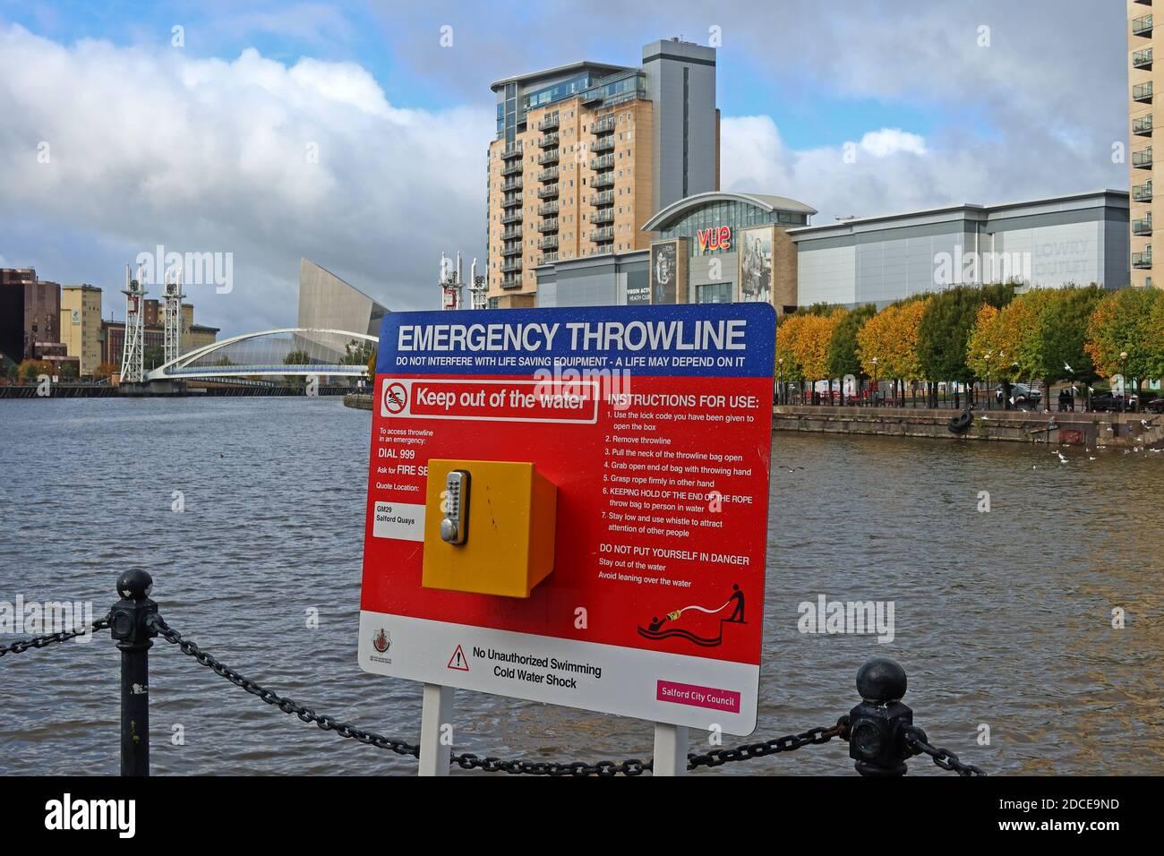 Hotpixuk,England,@Hotpixuk,UK,GB,Great Britain,GoTonySmith,water safety,safety,canal,M50,sign,lock,key,cold water shock,deep water,Emergency Throwline,Salford Quays,Salford,blocks,flats,housing,Vue,cinema