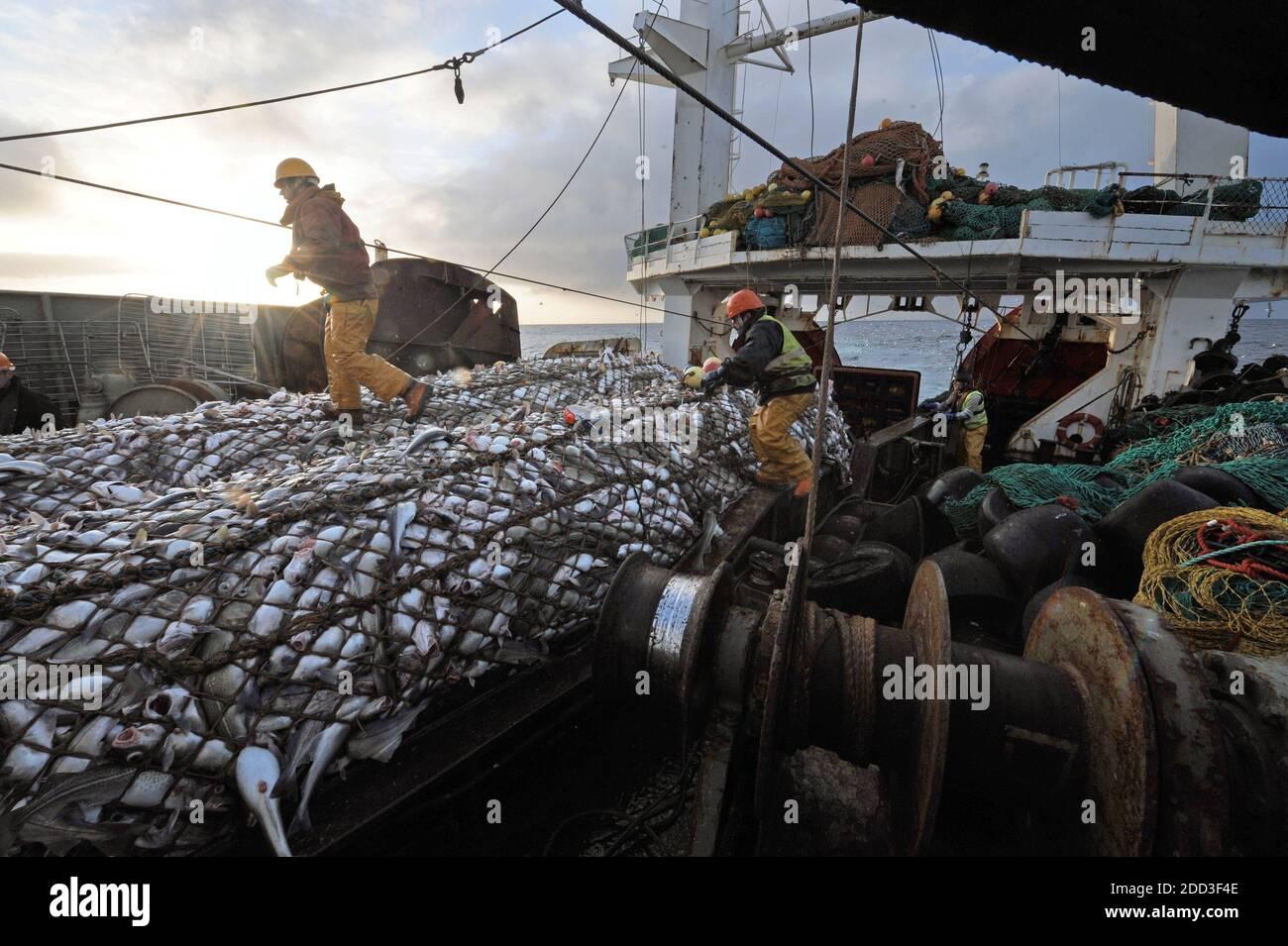 "Deep-sea fishing in the Norwegian Sea on board the trawler ""Grande Hermine"" in 2011. La Grande Hermine, factory trawler operated by Compagnie des Pech Stock Photo"