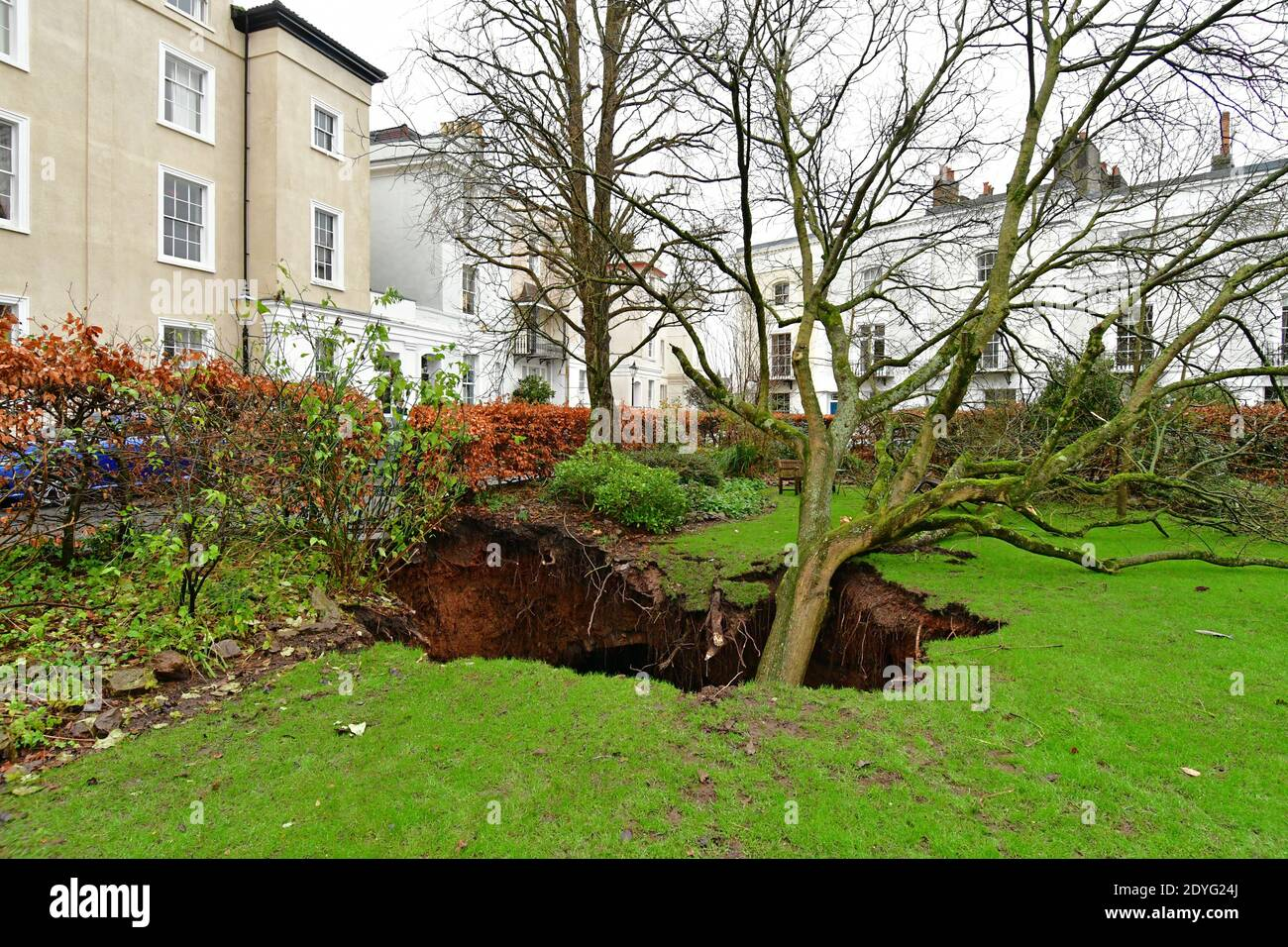 Bristol, UK. 26th Dec, 2020. UK Bristol. Canynge Square in Clifton Village A Large Sinkhole with tree in it opens up in residents private gardens. Picture Credit: Robert Timoney/Alamy Live News Stock Photo