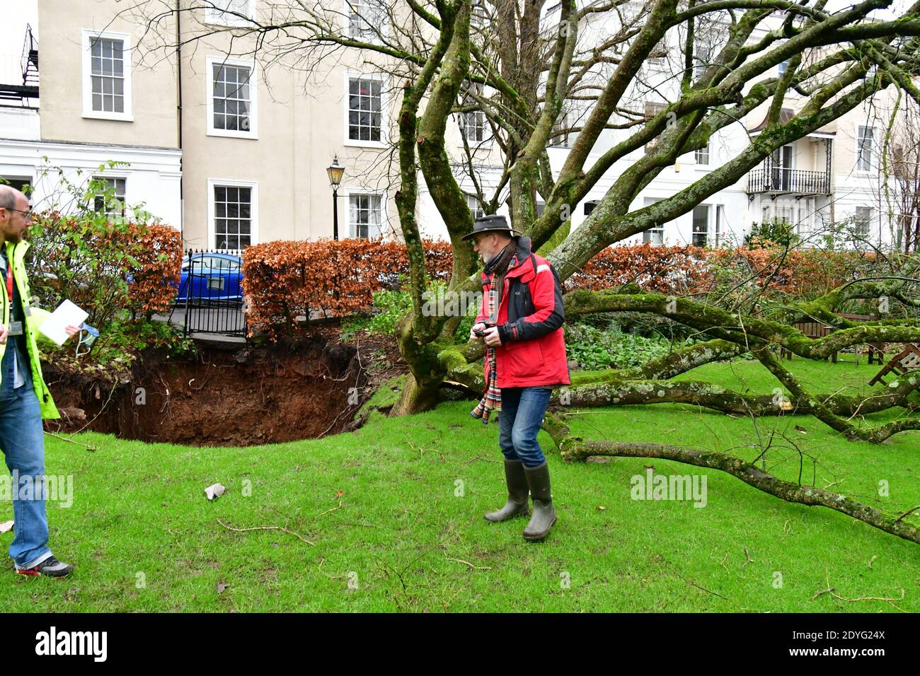 Bristol, UK. 26th Dec, 2020. UK Bristol. Canynge Square in Clifton Village A Large Sinkhole with tree opens up in residents private gardens. Picture Credit: Robert Timoney/Alamy Live News Stock Photo