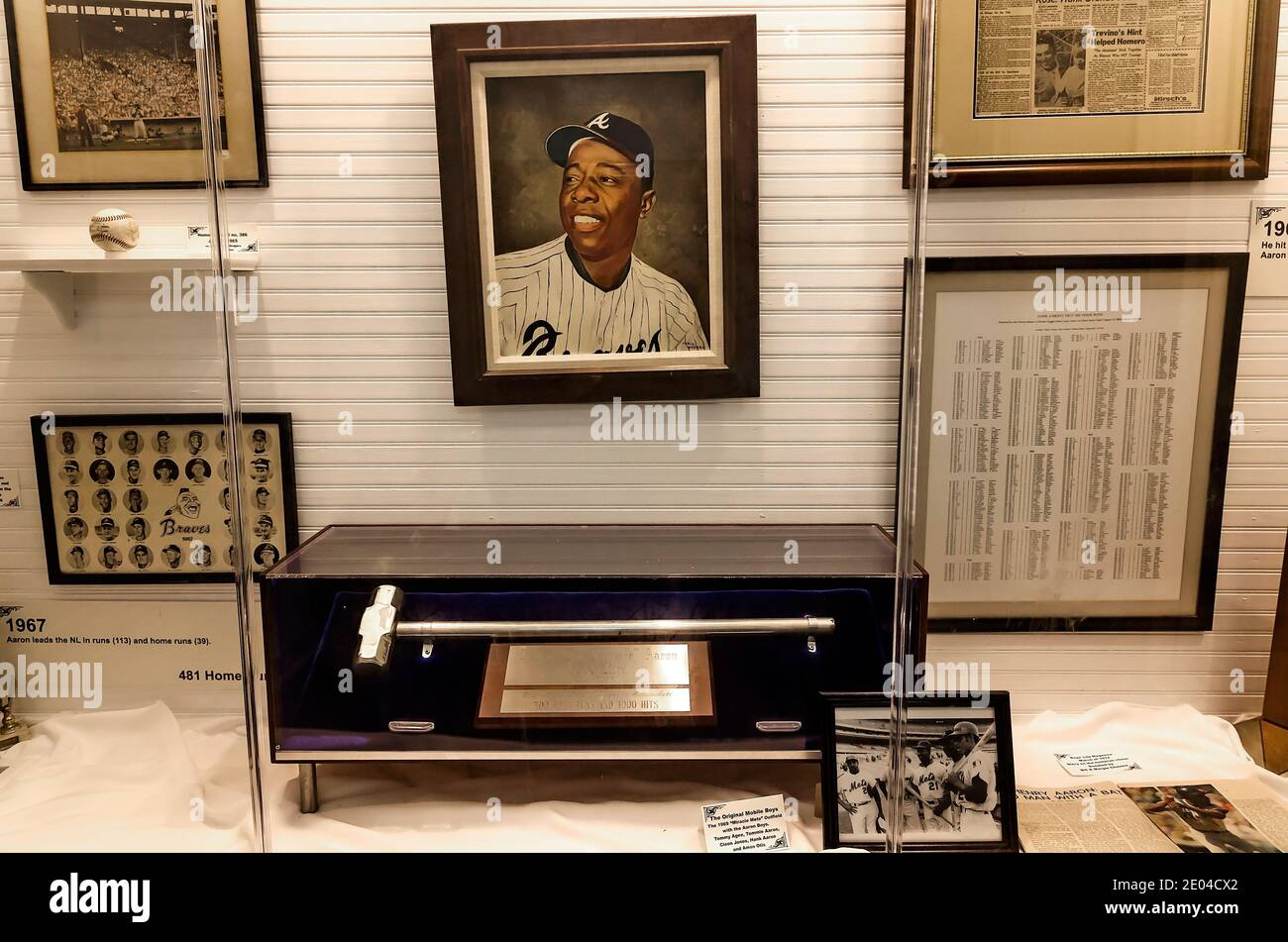 The Hank Aaron Childhood Home and Museum displays memorabilia from the baseball player's life, Aug. 23, 2017, in Mobile, Alabama. Stock Photo