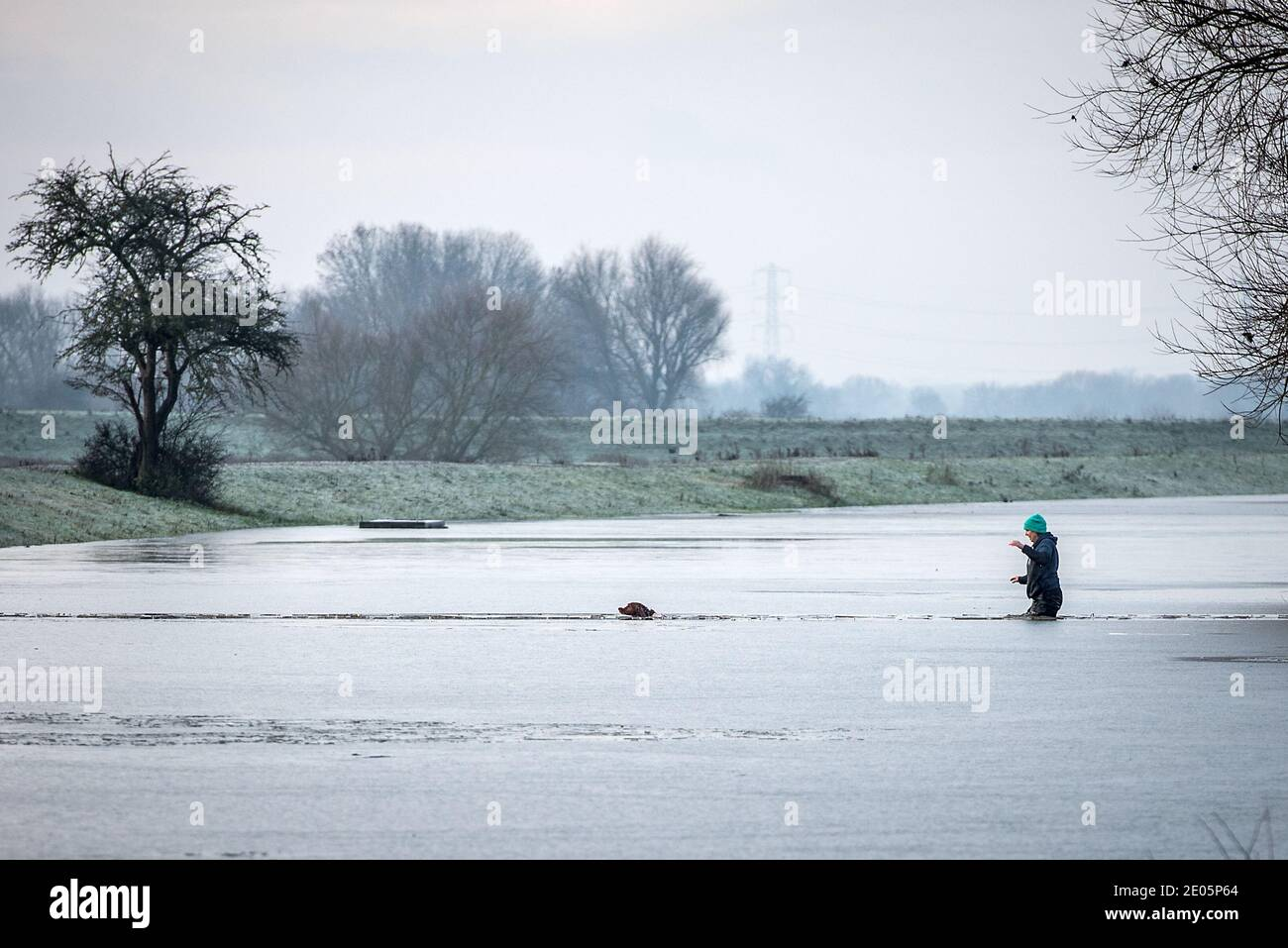 Gunthorpe, Nottinghamshire, UK. 30th Dec 2020. A women rescues her dog in frozen floodwaters by the River Trent near Gunthorpe, Nottinghamshire. Neil Squires/Alamy Live News Stock Photo