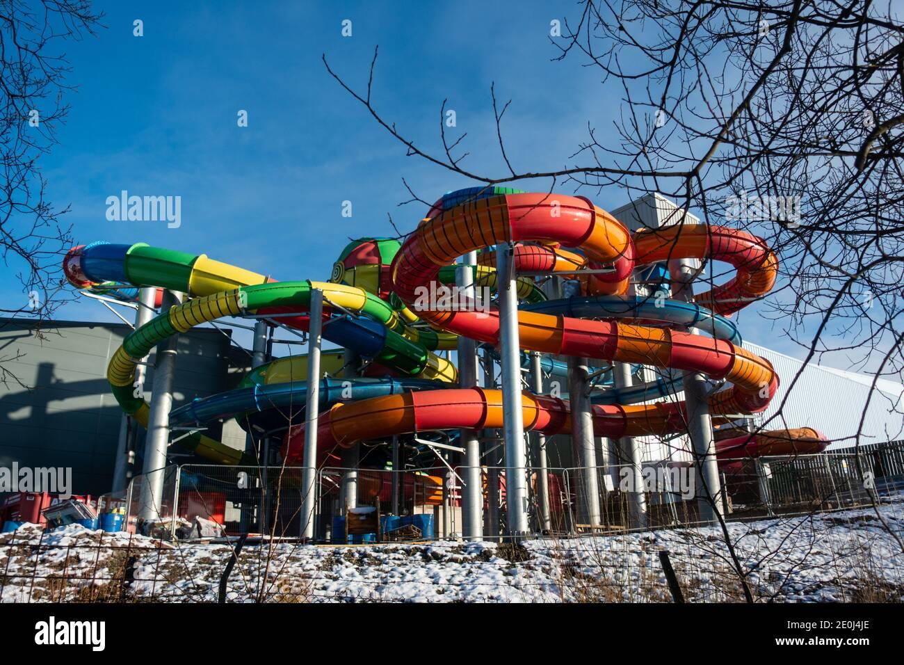 Colourful slide tubes at Waterworld water park, Stoke-on-Trent, UK Stock Photo