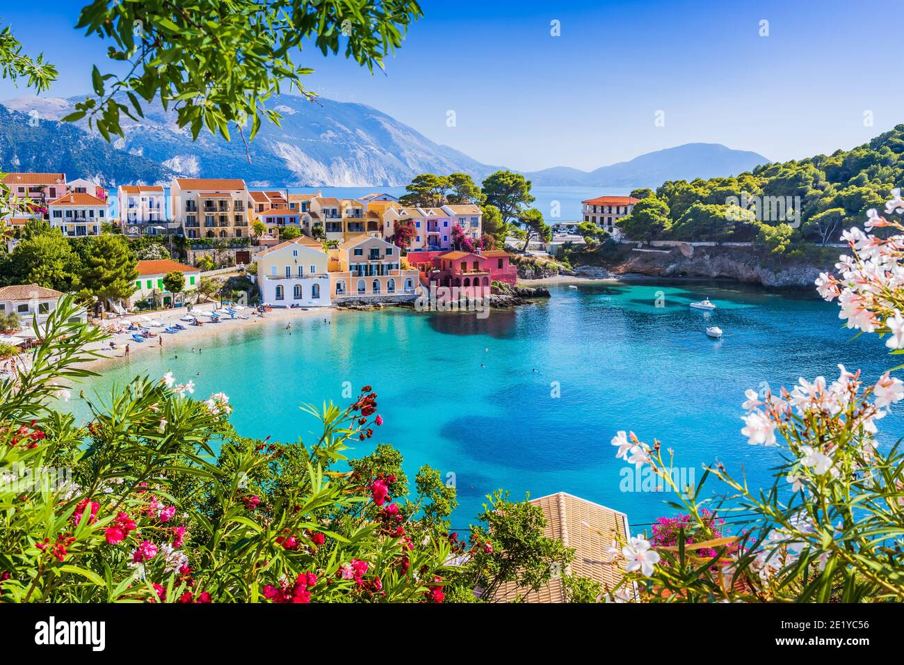 Kefalonia, Greece. Colorful village of Assos in Kefalonia. Stock Photo