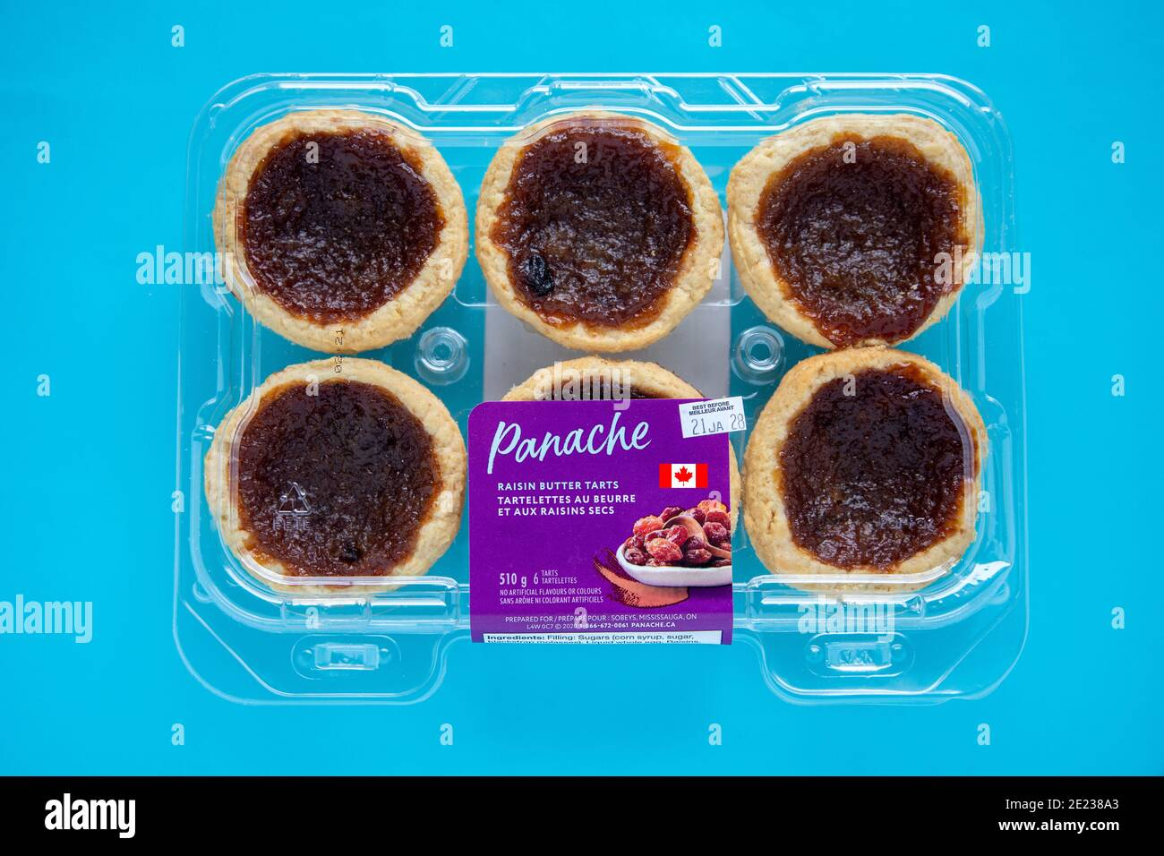 package-of-supermarket-brand-sobeys-canadian-butter-and-raisin-tarts-a-speciality-dessert-of-canada-2E238A3.jpg