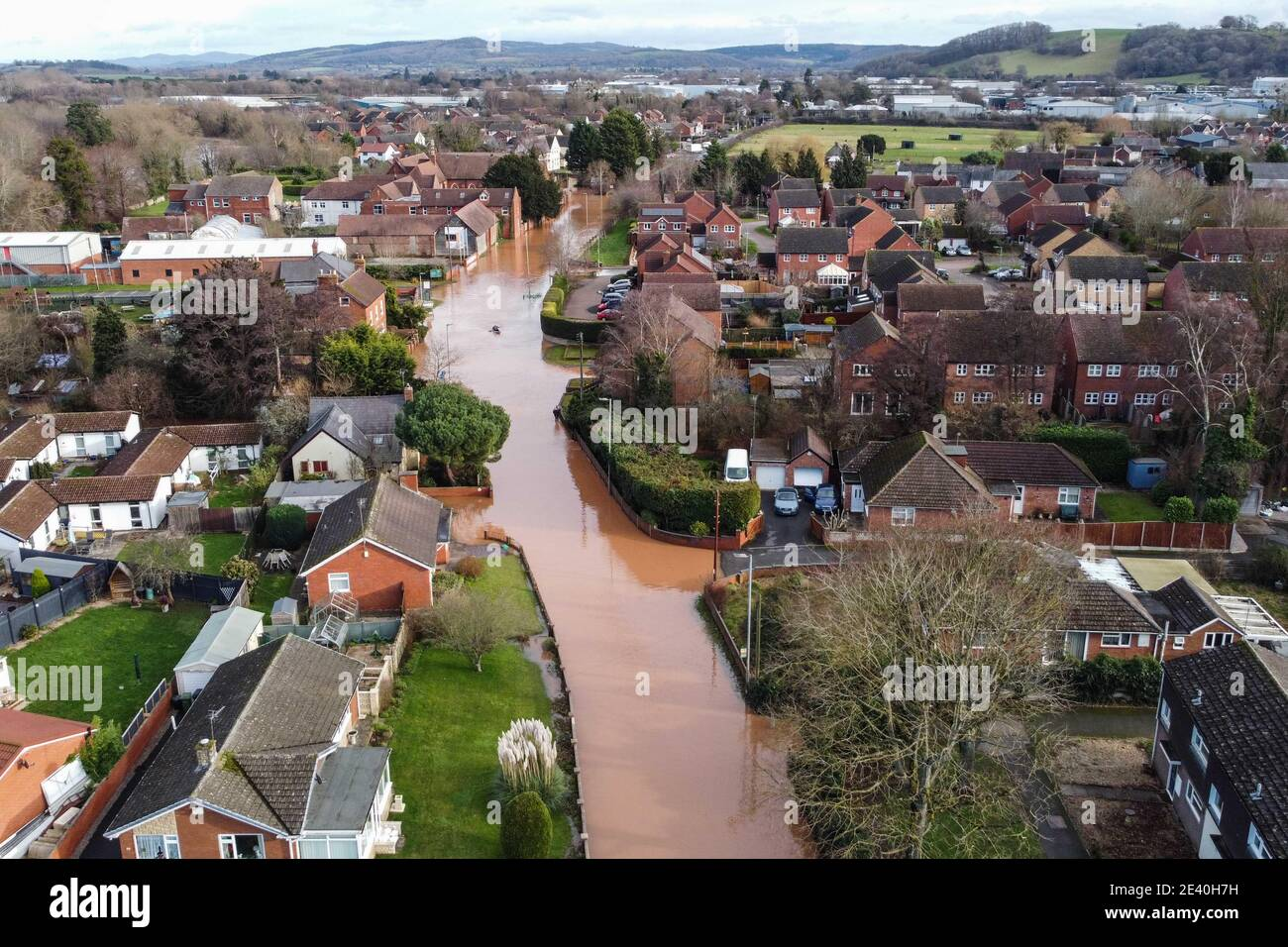 Hereford, Herefordshire, UK. 21st Jan, 2021. Flooding hit parts of Hereford today after Storm Christoph brought heavy rain to the region. The River Wye burst its banks completely flooding Home Lacy Road with only a Kayaker being able to negotiate the road turned river. Pic by Credit: Sam Holiday/Alamy Live News Stock Photo