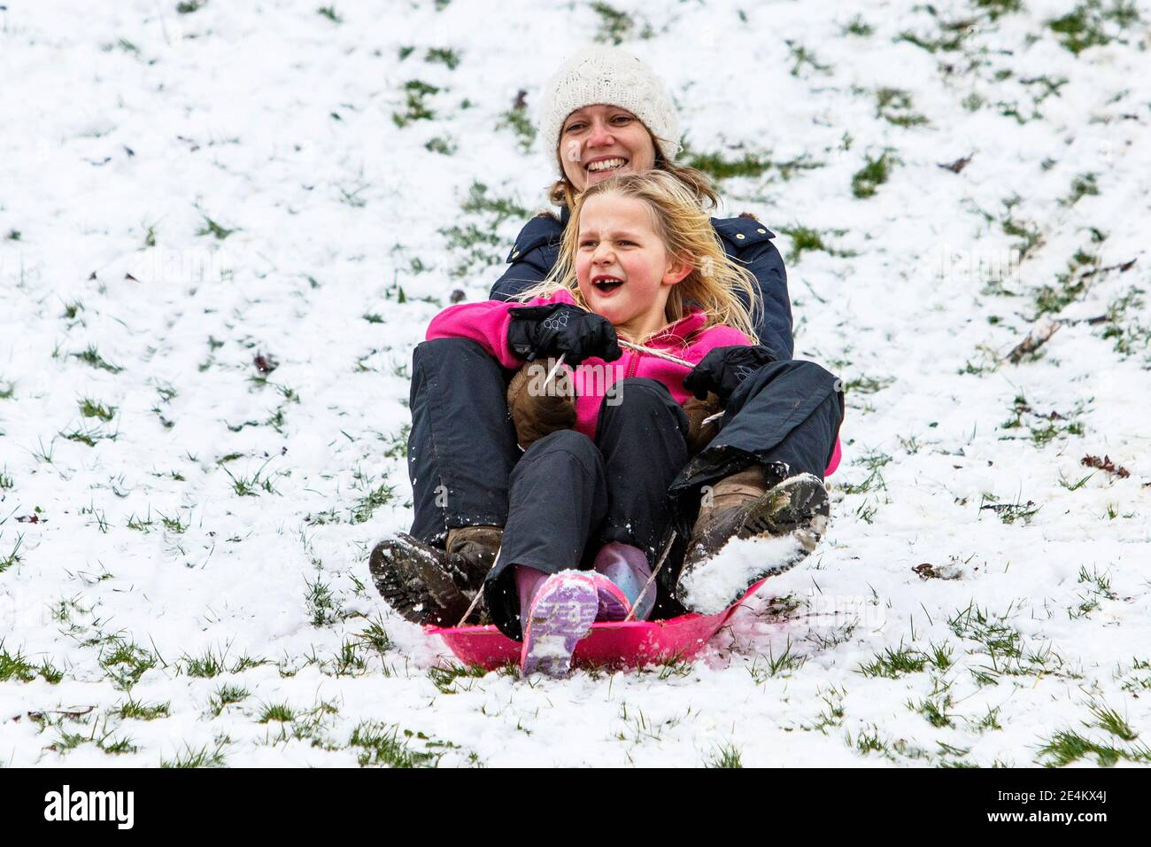 Chippenham, Wiltshire, UK. 24th January, 2021. As Chippenham residents wake up to their first snow of the year, a woman and a child are pictured in a local park in Chippenham as they slide down a hill on a sledge. Credit: Lynchpics/Alamy Live News Stock Photo