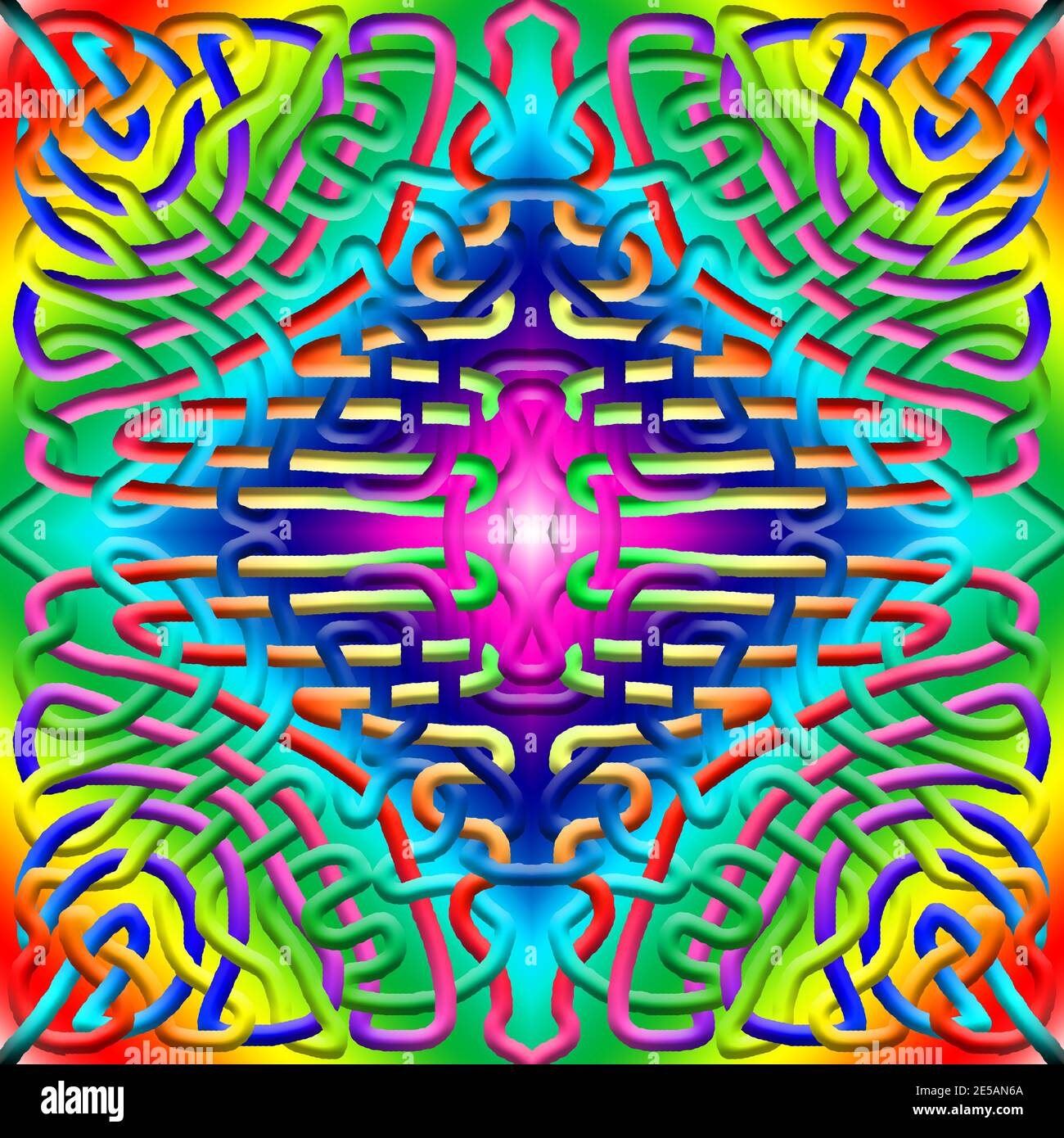 3D graphic illustration - seamless repeating rainbow colours pattern Stock Photo