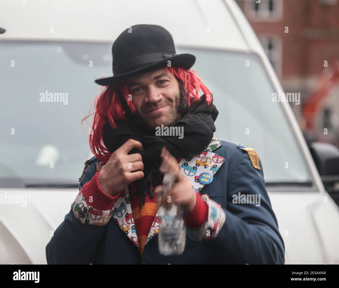 London UK 27 January 2021  Daniel Hooper better know as Swampy at todays ecition site in Euston Square ,were security moved acitivts after was known they were digging a tummel in the square.Paul Quezada-Neiman/Alamy Live News Stock Photo