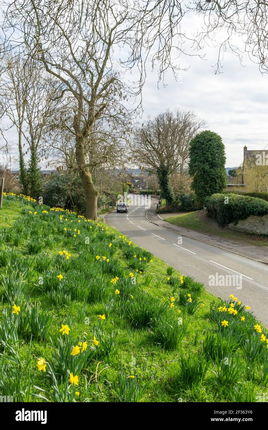 looking south down Church Lane Cherry Willingham Lincoln Stock Photo