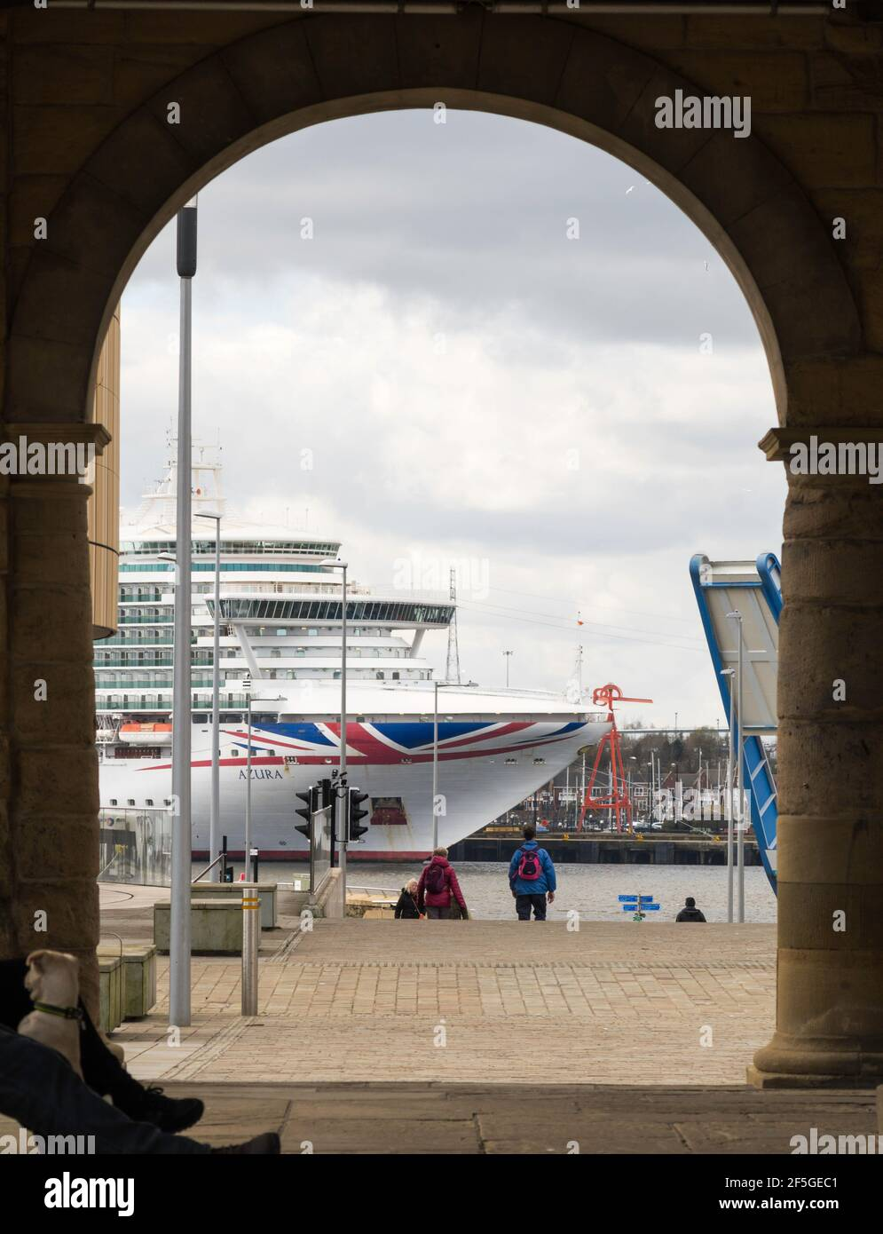 P&O Cruises cruise ship Azura berthed at North Shields on the river Tyne laid up during the Covid pandemic, north east England, UK Stock Photo
