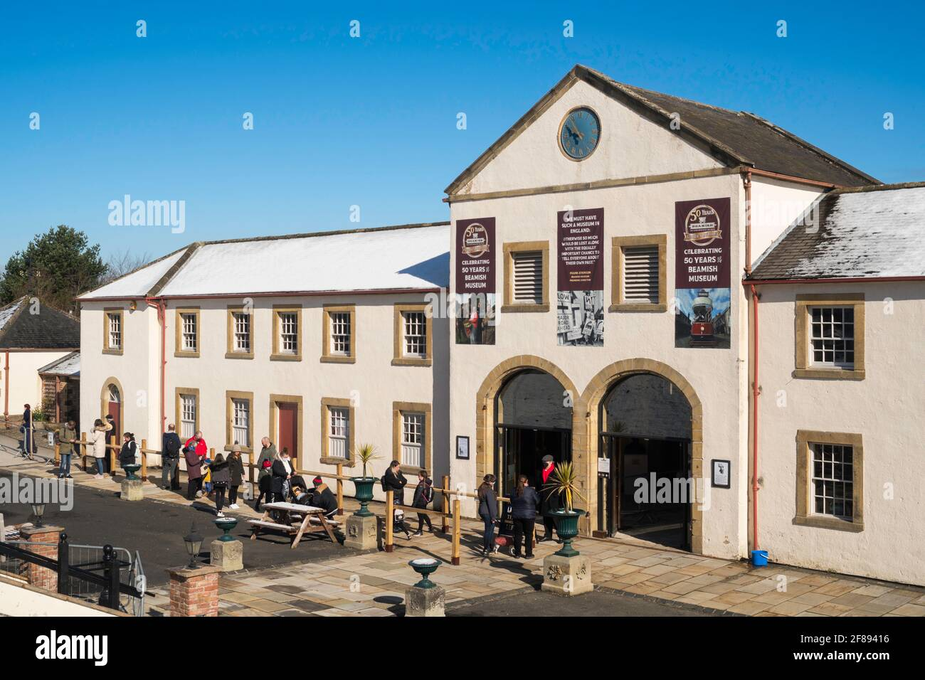 Beamish, Co. Durham UK 12-04-2021 Reopening of Beamish Museum at the end of Covid lockdown on the morning of Monday 12th April 2021. Pictured, the first visitors queuing to enter. (C)  Washington Imaging/Alamy Stock Photo