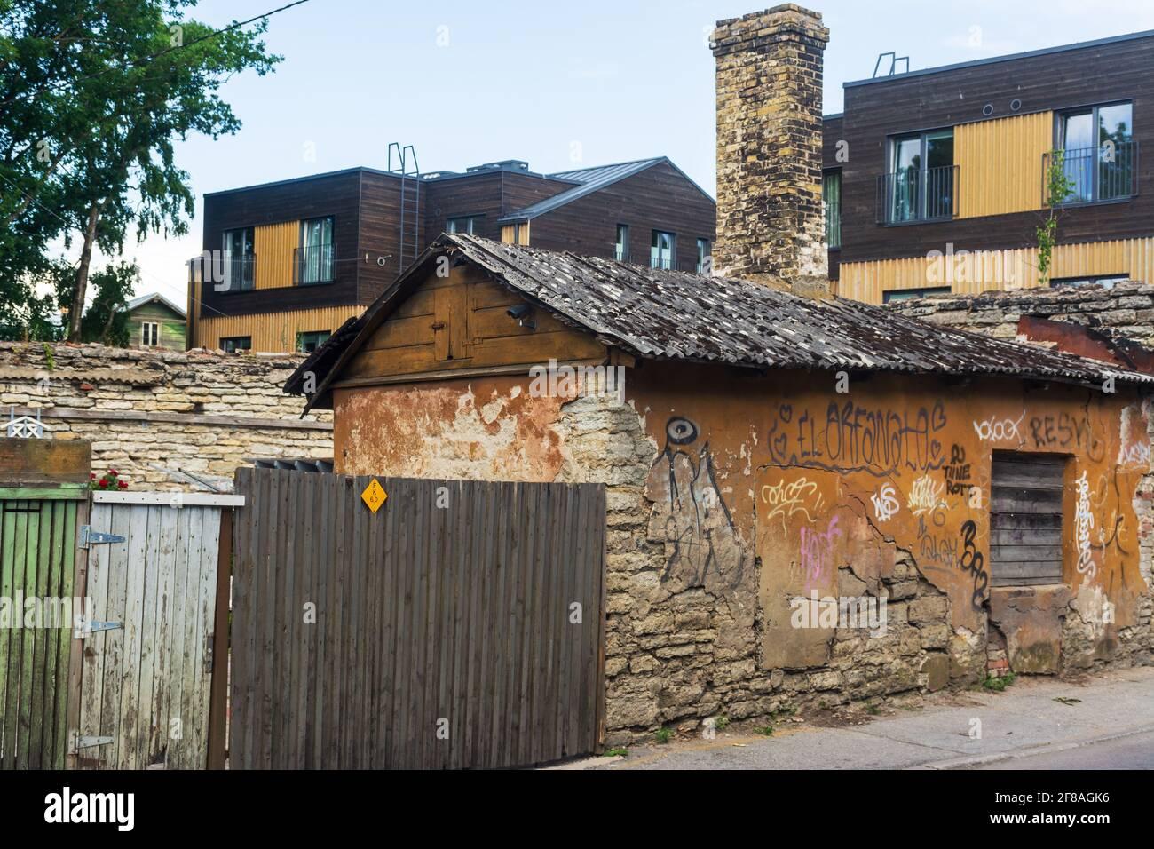 Old houses at Kalamaja in Tallinn Estonia Stock Photo