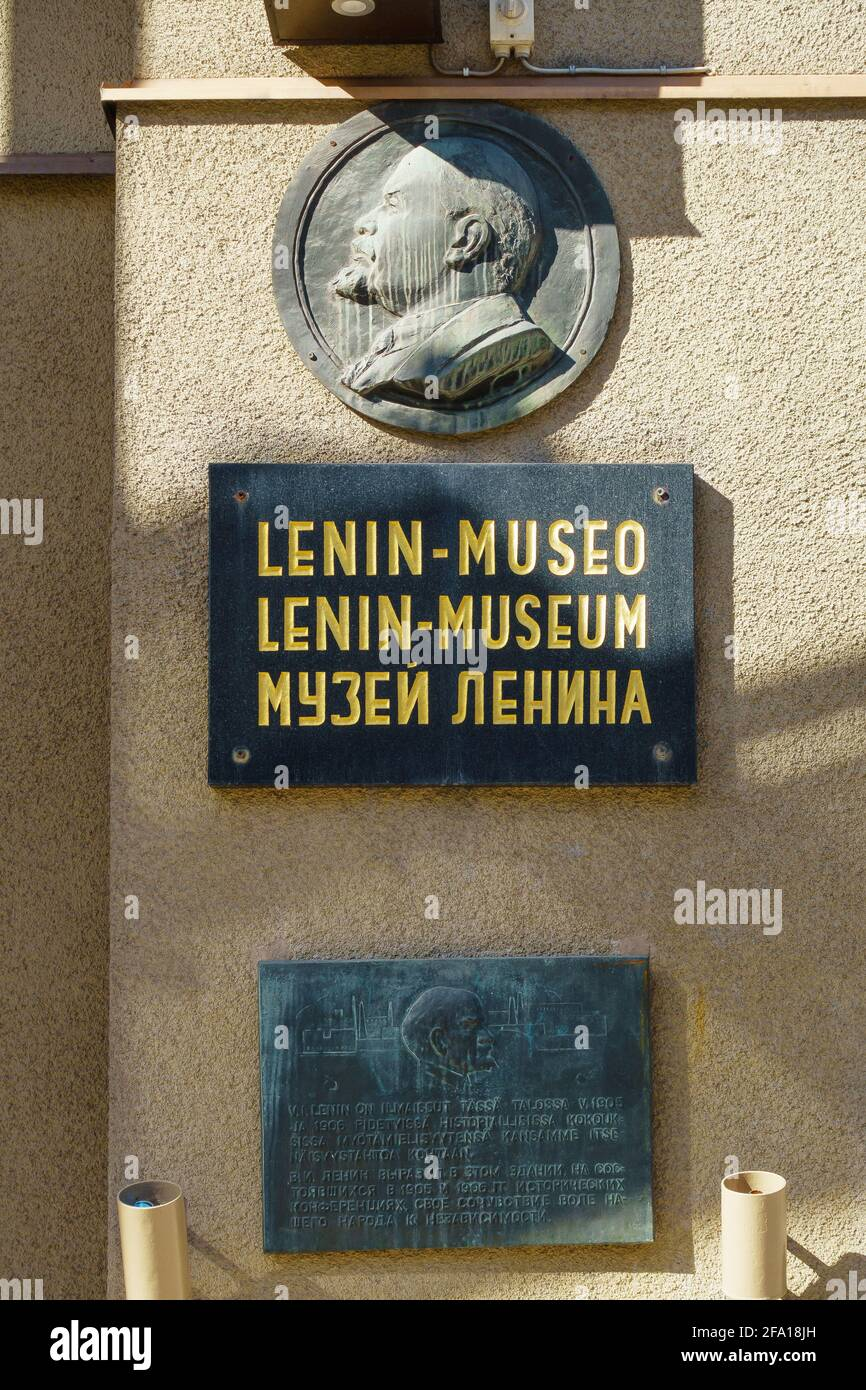 Plaque on the wall of the Lenin museum in Tampere Finland Stock Photo