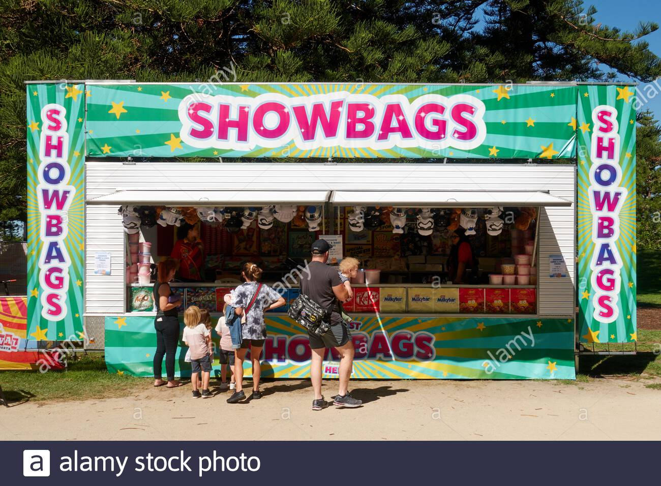 a-stall-selling-showbags-at-the-funmantle-april-school-holidays-event-for-children-at-the-esplanade-in-fremantle-western-australia-2FK4MA4.jpg