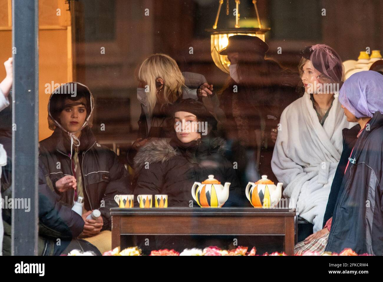 Birmingham, UK. 30th April 2021: Star of Netflix series Bridgerton, Phoebe Dynevor, was today seen on set of upcoming drama series for Sky, The Colour Room. Credit: Ryan Underwood / Alamy Live News Stock Photo