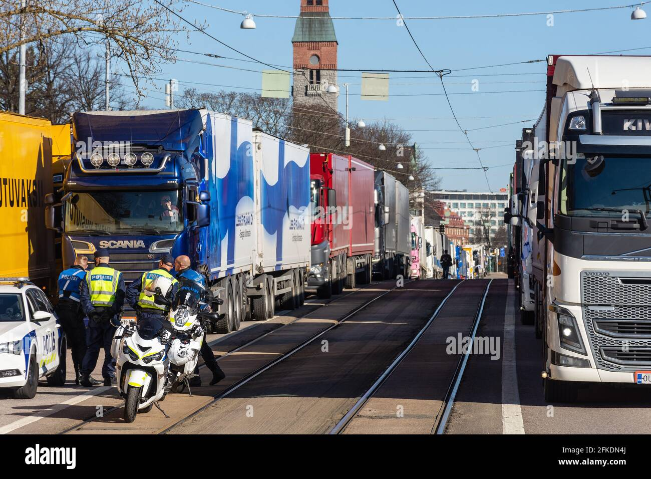 Peat producer´s and transporter´s protest with trucks on Mannerheimintie street in front of the Parliament house in Helsinki Finland Stock Photo