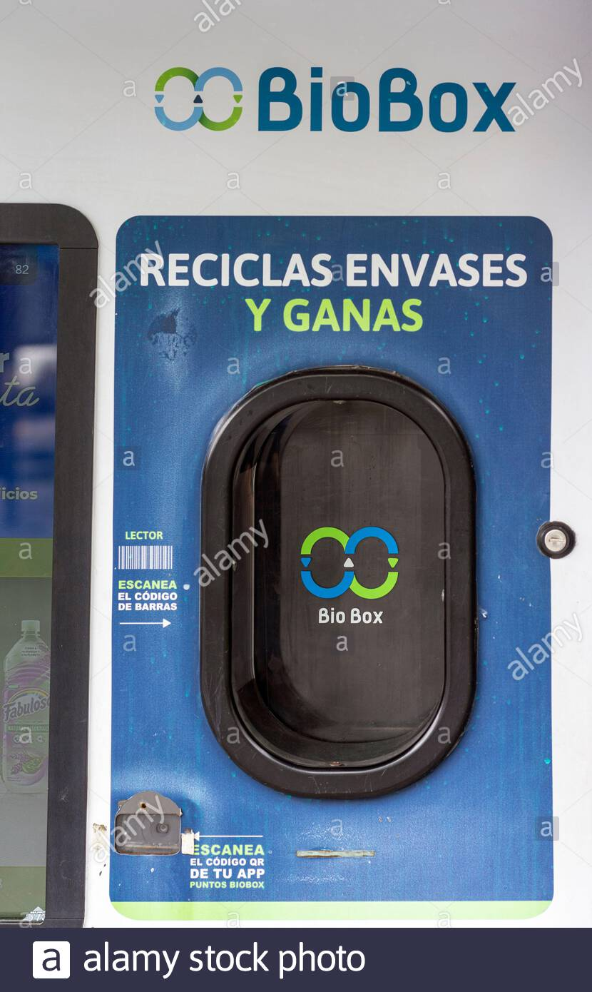 A BioBox recycling machine in Mexico City. Stock Photo