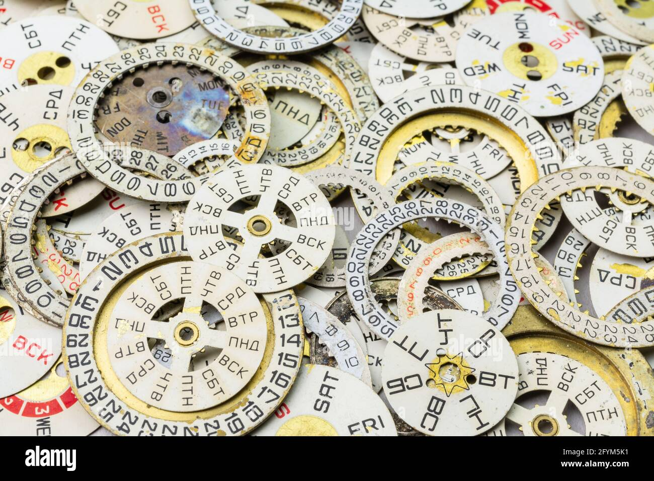 Old vintage wrist watch dials in English and Russian Stock Photo