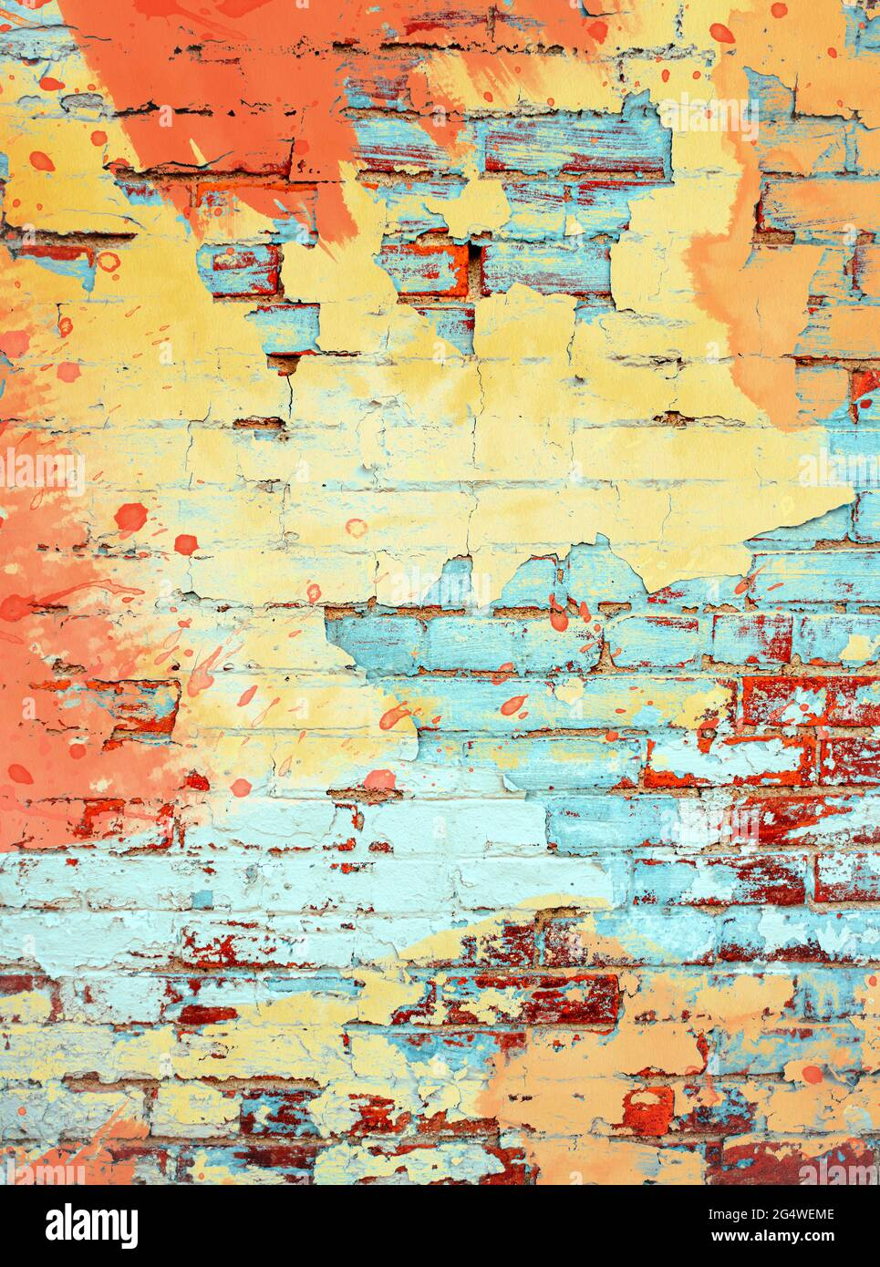 Brightly colored orange yellow and aqua turquoise paint splatter digital painting on brick wall background texture with empty space as a grunge retro Stock Photo