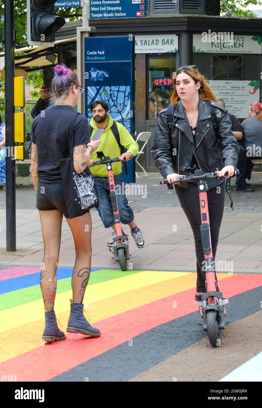 bristol-uk-1st-july-2021-bristol-starts-to-celebrate-pride-month-by-repainting-a-pedestrian-crossing-in-the-rainbow-colours-of-the-lgbtq-pride-movement-vibrant-fashion-and-e-scooters-are-also-very-bristol-thing-credit-jmf-newsalamy-live-news-2G60JRK.jpg