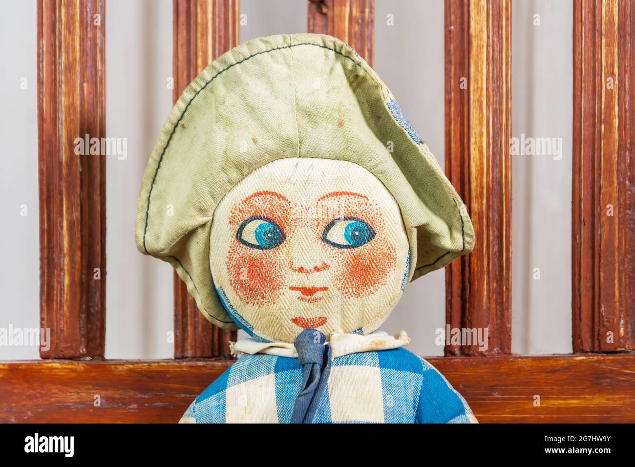 Cloth canvas doll with a painted face Stock Photo