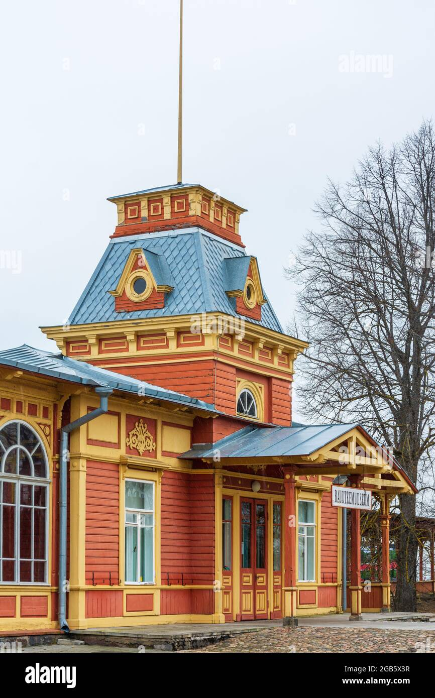 Historic old railway station as museum in Haapsalu Estonia Stock Photo