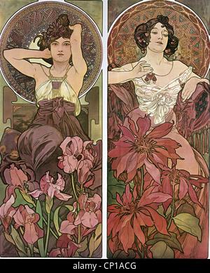 fine arts, Mucha, Alfons (1860 - 1939), poster, circa 1900, two women, sitting, flowers, hair, Art Nouveau, Alphonse, - Stock Image