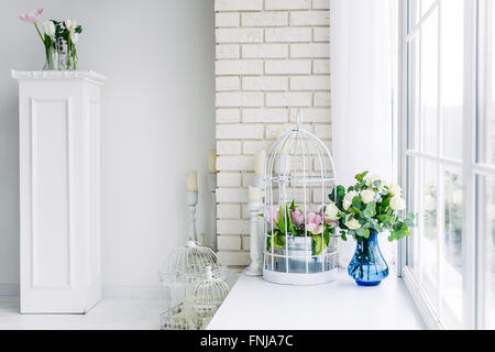 Flowers on the windowsill in studio - Stock Image