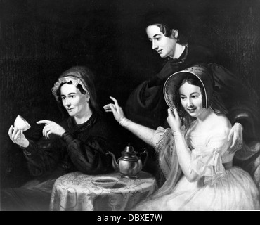 1800s 1838 PAINTING BY WILLIAM SYDNEY MOUNT FORTUNE-TELLER READING TEA LEAVES FOR TWO WOMEN - Stock Image