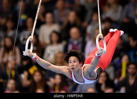 Kazuma Kaya, Japan, on the rings, apparatus gymnastics, Porsche-Arena, Stuttgart, Baden-Württemberg, Germany - Stock Image