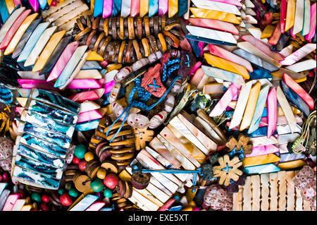 Souvenir bracelets and pendants at a Turkish market - Stock Image